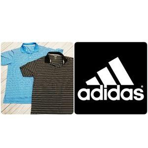 Adidas | Blue and Black Climalite Striped Polos